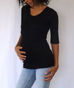 Black scoop neck 3/4 sleeves maternity top, great quality fabric