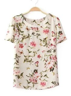 Stylish Scoop Collar Short Sleeve Floral and Butterfly Print Chiffon Women's T-Shirt