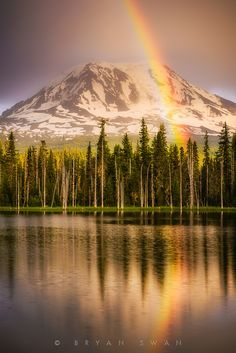 Rainbow - Pot of Gold, Mount Adams, Photographer Bryan Swan Beautiful World, Beautiful Places, Beautiful Pictures, Evergreen State, Pot Of Gold, Beautiful Landscapes, The Great Outdoors, Wonders Of The World, Places To See