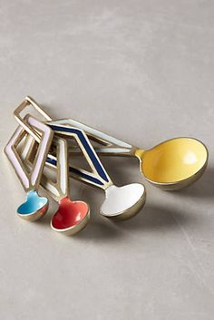 Say goodbye to searching through your utensil drawer.  These geometric Pastiche Measuring Spoons are so colorful they'll be a cinch to find.