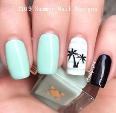 Having short nails is extremely practical. The problem is so many nail art and manicure designs that you'll find online Cute Summer Nail Designs, Cute Summer Nails, Cute Nails, Bright Nails For Summer, Summery Nails, Beach Nail Designs, Simple Nails, Mint Nails, Gel Nails