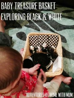 Adventures at home with Mum: Exploring Black  White - Baby Play Basket! High contrast black-and-white patterns are perfect for a newborn's visual stimulation and development. While adults can clearly distinguish between all colors, babies can decipher only the high contrast of black and white! Check out Bright Eyes baby blankets! #brighteyes #babyblanket