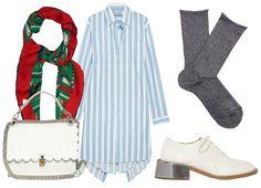 Сумка Fendi, платок Gucci, платье Balenciaga, туфли MM6 Maison Margiela, носки Falke