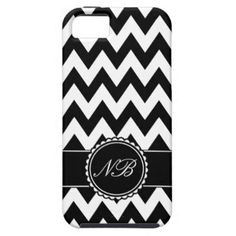 SOLD! Black and White Chevron with Monogram iPhone 5/5S Cover on buy-the-new.com