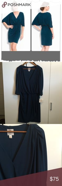 """Suzy Chin for Maggy Boutique Teal Green Dress NWT! Suzy Chin for Maggy Boutique Teal Green Dolman Dress. Gorgeous! Works for work or evening wear. Cross front with elastic waist. Dolman 3/4 sleeves. Draped skirt in faux wrap style. Length 40"""". Polyester/Spandex blend. Stunning! #turquoise, #aqua, #midnight blue. #evening, #party, #cocktail, #work, #business, #career Suzy Chin Dresses Midi"""