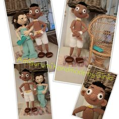 """Puck, the Ibiza girl"" met haar vriend ""Chip"" Designed and pattern by Ginia Mees."