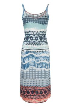 Border print shift has 3/4 inch shoulder straps. Dress skims the body and ends just below the knees. Hem ends with a peach print. Add a jean jacket and sandals and you are good to go. V Neck Dress by Tribal. Clothing - Dresses - Casual Michigan