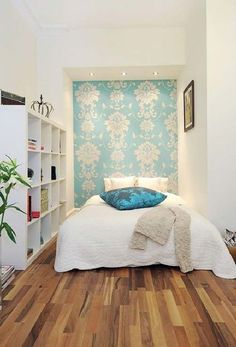 patterned accent wall in small bedroom