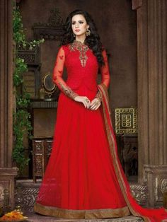 Red Colored Embroidary Net Salwar Suits - Buy Red Net Embroidered Dress Suite For only Rs.3,599 from Godomart Online Shopping Store India. Shop Online for Best Dress/Suits Collection Only at Godomart.com