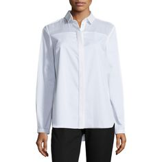 Elie Tahari Torence Long-Sleeve Tunic Blouse (790 SAR) ❤ liked on Polyvore featuring tops, blouses, white, elie tahari, white long sleeve top, white long sleeve blouse, white blouse and long sleeve blouse