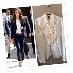 Ralph Lauren blouse with silk ruffle trim White blouse with silk ruffle trim and French cuff. EUC Ralph Lauren Tops Blouses