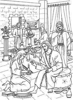 Matthew Mark John Jesus Was Anointed; Coloring Page-Anointing the Feet of Jesus Bible Story Crafts, Bible Crafts For Kids, Preschool Bible, Bible Activities, Bible Stories, Jesus Coloring Pages, Colouring Pages, Adult Coloring Pages, Coloring Books