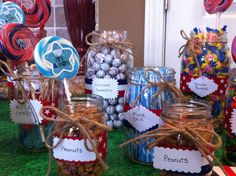 Candybar for a baseball themed baby boy shower