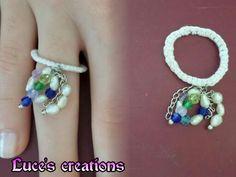 Anello con pendenti di perle e perline colorate*-*