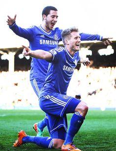 Andre Schurrle celebrating his hat trick with Eden Hazard; Fulham 1 Chelsea FC 3 (1/3/2014)