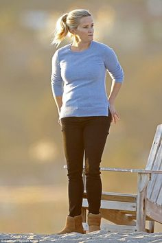 Hard at work: Reese Witherspoon filmed scenes  for her upcoming HBO series Big Little Lies...