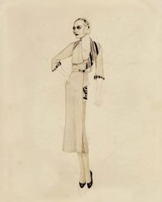 """Costume sketch by Adrian for Joan Crawford in """"Forsaking All Others"""" - (1934"""