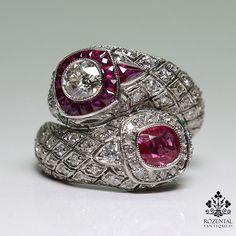 Antique Art Deco Platinum 3.1ct. Diamond – Ruby & Emerald Ring