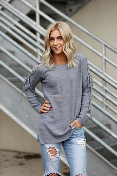 Lace It Up Cold Shoulder Sweater in Grey – The Obsessions Boutique Ladies fashion, ladies accessories, ladies fashion boutique, online boutique, ladies tank tops, ladies sweater, ladies date night, date night outfits, ladies outfits, ladies apparel, ladies shoes, adorable ladies clothes, ladies fashion frugal, frugal ladies fashion,