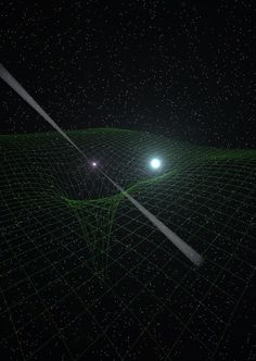 "Superdense neutron star, emitting beams of radio waves as a pulsar, center, is closely paired with a compact white-dwarf star. Together, the two provide physicists with an unprecedented natural, cosmic ""laboratory"" for studying the nature of gravity. The grid background illustrates the distortions of spacetime caused by the gravitational effect of the two objects. (Credit: Antoniadis, et al.)"