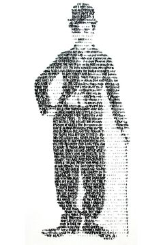 A portrait of Charlie Chaplin, fittingly composed of the words that make up his iconic speech from the end of The Great Dictator (1940). By David Hollier. Brenton Film silent