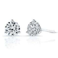 Justice Jewelry Collection White Gold Diamond Stud Earrings #justicejewelers