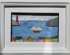 Charlestown Cornwall Pebble Art Picture Sea от CornishPebbleArt