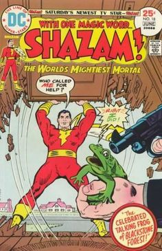 His best friend is a talking tiger, so why shouldn't a frog call Captain Mar - er, the World's Mightiest Mortal before he croaks? Dc Comic Books, Vintage Comic Books, Vintage Comics, Comic Book Heroes, Original Captain Marvel, Captain Marvel Shazam, Superman Comic, Book And Magazine, Magazine Covers
