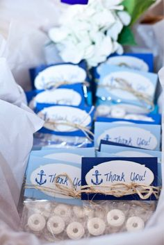 Nautical Baby Shower Favors: Mints packaged up to look like life preservers. Cute!
