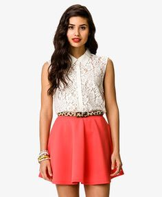http://www.shopstyle.com: FOREVER 21 Sleeveless Lace Shirt