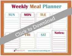 Free Printable Weekly Meal Planner | TodaysCreativeblog.net