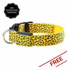 FREE Yellow Snazzy Coloured Pattened LED Dog Safety Collar