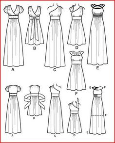 Womens Dress or Gown Sewing Pattern 2692 Simplicity Dress Design Drawing, Dress Design Sketches, Dress Drawing, Fashion Design Drawings, Drawing Clothes, Fashion Sketches, Clothing Patterns, Sewing Patterns, Dress Patterns
