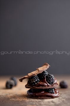 Chocolate blackberry mille-feuille.  I'm not sure I'll ever make this, but it looks so stunning I had to still pin it!