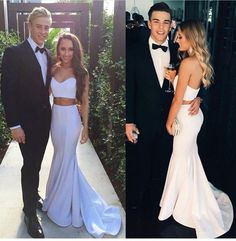 2017 White Long Prom Dress, Mermaid Sleeveless Evening Dress,Two Pieces Party Dress - Thumbnail 1