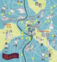 illustrated map of Rome by bianca tschaikner