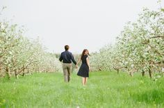 Honeybee themed engagement photo at Spicer Orchards