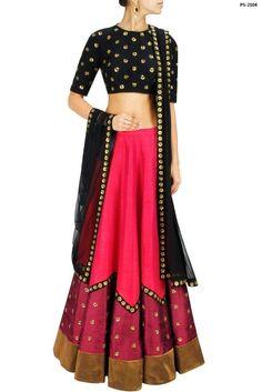Indian Wedding Long Skirt Pink-Black Embroidery Lehenga Choli Plus Size PS-2104 #EthnicDresses #SalwarKameez