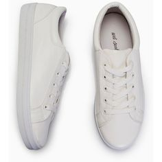 Vegan Leather Lace-Up Sneakers (€18) ❤ liked on Polyvore featuring shoes, sneakers, leather lace up shoes, laced sneakers, vegan leather shoes, laced shoes and laced up shoes
