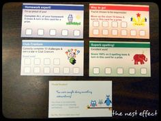 """Positive behavior punch card system-maybe the """"way to go card"""" instead of stickers on the responsibility charts?"""