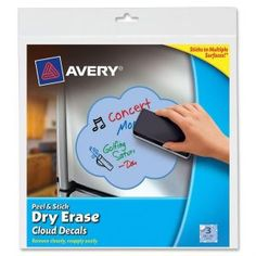 Avery Cloud Decals.  Stick them and move re-use them multiple times. Dry erase allows for the messages to be changed.