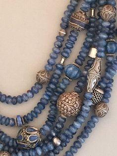 Multi-Strand Kyanite and Mixed Silver Statement Necklace - new season bijouterie Boho Jewelry, Jewelry Crafts, Beaded Jewelry, Jewelery, Vintage Jewelry, Jewelry Accessories, Handmade Jewelry, Jewelry Necklaces, Fashion Jewelry