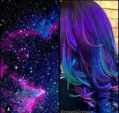 Best Galaxy Hair Ideas and How to Get the Galaxy Hair Color Beste Galaxy Haar Ideen und wie man die Galaxy Haarfarbe bekommt Funky Hairstyles, Pretty Hairstyles, Updo Hairstyle, Bride Hairstyles, Hairstyle Ideas, Purple Hair, Ombre Hair, Hair Dye, Turquoise Hair