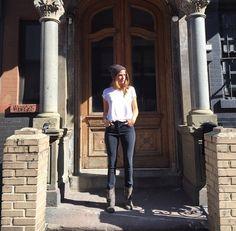 Stephanie Cayo wearing 3x1 W3 High-Rise Channel Seam Skinny Jeans in Black No.5