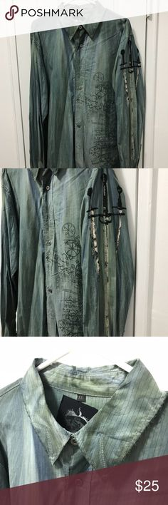 XL Black Hearts Brigade Teal Button Down Shirt XL Black Hearts Brigade teal Button Down shirt with beautiful designs and patterns. Great condition! Black Hearts Brigade Shirts Casual Button Down Shirts