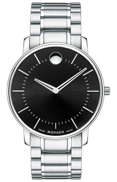 Movado TC - Men's Movado TC watch, 40 mm stainless steel case, round black sunray dial with silver-toned signature dot, stick markers and skeleton hands, stainless steel link bracelet with deployment clasp, sapphire crystal, Swiss quartz movement, water resistant to 30 meters.