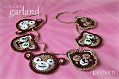 crochet toy animal faces - cat, teddy bear, monkey - appliques, ornaments, garland
