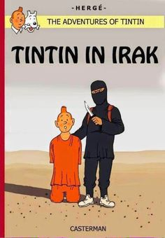 How many times Tintin escapes from death in his adventures, don't think how he can in this adventure, by a fans' art-work. Album Tintin, Bd Comics, Plot Twist, Twisted Humor, Political Cartoons, Adult Humor, Album Covers, Book Covers, Literature