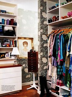Designate A Dressing Room. Laura Vinroot Poole's closet, Interior Designer: Barrie Benson.