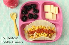 15 Shortcut Toddler Dinners via yummytoddlerfood.com - These are great! Especially: Squash and Apple Yogurt Parfait, Deluxe Cheese and Crackers, Vanilla Almond Butter Yogurt Dip, and Cucumber Hummus Wrap.